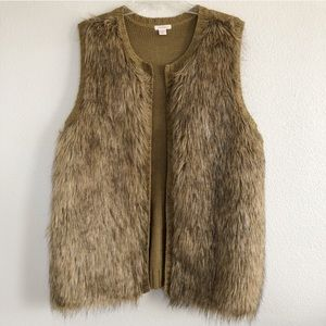 Women's XXL tan faux fur vest